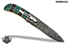 TNZ-476 USA Damascus Pocket Folding Knife, 8