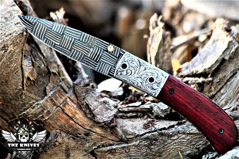 "TNZ-1180-B USA Engraved Mosaic Damascus Pocket Folding Knife,8"",Buffalo Horn & Liner Lock"
