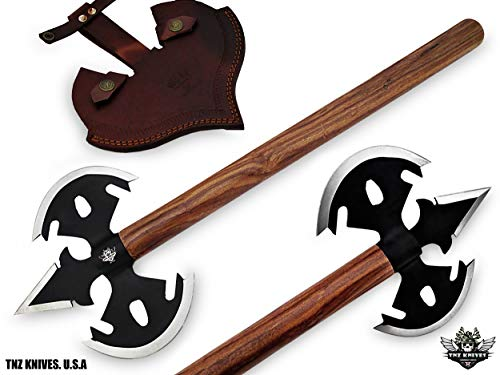 "TNZ -65 Stainless Steel Handmade Viking Axe, 7"" Blade Edge Each Side & Rose wood"