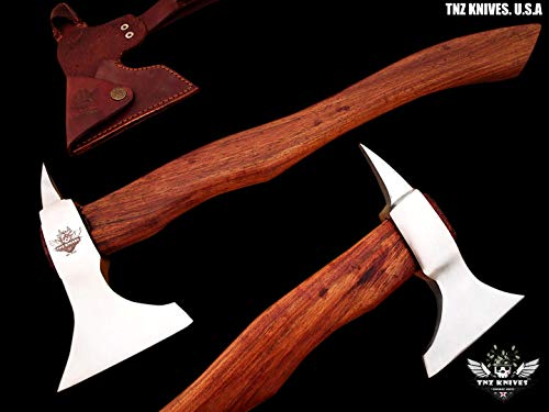 "TNZ- 616 High Carbon Steel Forged Axe 18"" Long Viking Axe & Rose Wood Handle"