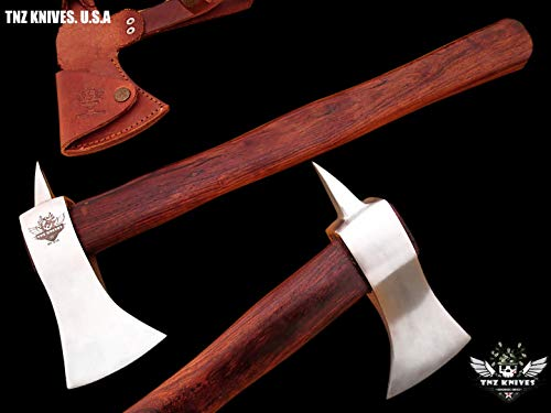"TNZ- 614 High Carbon Steel Forged Axe 18"" Long Viking Axe & Rose Wood Handle"
