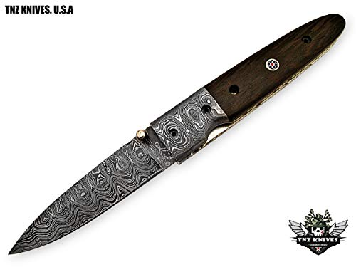 "TNZ- 29 USA Damascus Pocket Folding Knife, 8"" Long with Rose Wood & Line Lock"