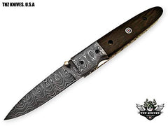 TNZ- 29 USA Damascus Pocket Folding Knife, 8