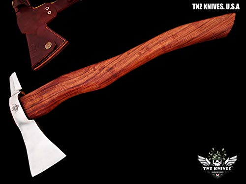 "TNZ- 617 High Carbon Steel Forged Axe 18"" Long Viking Axe & Rose Wood Handle"