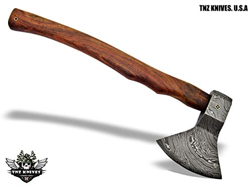 "TNZ-603 Damascus Axe 19"" Long, 5"" EDGE, 7.5"" Head width & Rose Wood Handle"