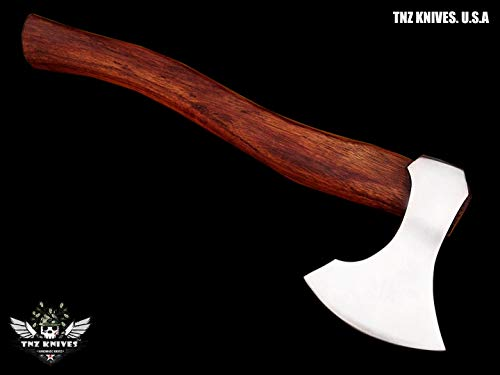 "TNZ- 619 High Carbon Steel Forged Axe 18"" Long Viking Axe & Rose Wood Handle"