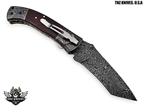 "TNZ-174 USA Damascus Pocket Folding Knife, 8.5"" Long with Rose Wood & Line Lock"