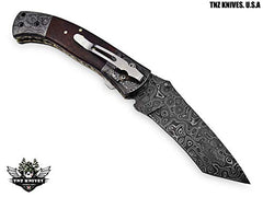 TNZ-174 USA Damascus Pocket Folding Knife, 8.5