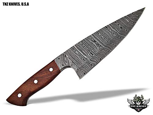 "TNZ-551 USA Damascus Handmade Chef Kitchen Knife 12"" Long With Rose Wood Handle"
