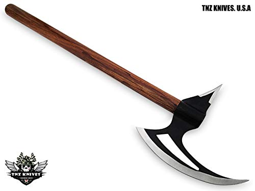 "TNZ -66 USA Stainless Steel Handmade Viking Axe, 20"" Length & Rose Wood Handle"