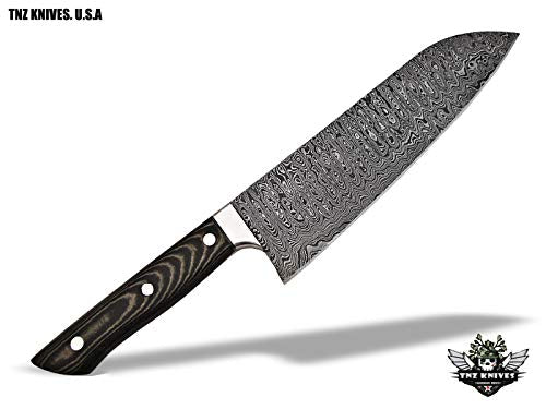TNZ-557 USA Damascus Handmade SANTOKU Chef Kitchen Knife 13″ Long with Micarta Handle