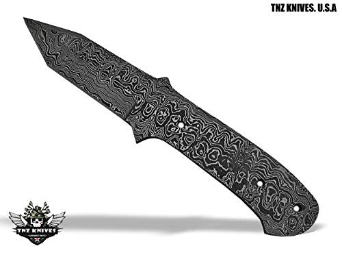 "TNZ- 407 Damascus 9"" Fixed Blade Blank Knife"