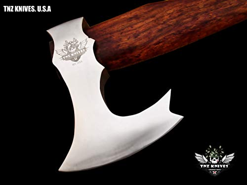 "TNZ- 618 High Carbon Steel Forged Axe 18"" Long Viking Axe & Rose Wood Handle"