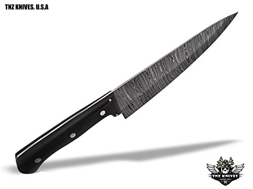 "TNZ-556 USA Damascus Handmade Chef Kitchen Knife 13.5"" Long, 8.5 Blade with Micarta Handle"