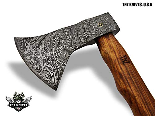 "TNZ-605 Damascus Axe 19"" Long,5"" EDGE, 8"" Head width & Rose Wood Handle"