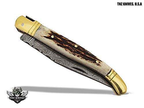 TNZ-503 USA Damascus Gift LAGUIOLE Folding Knife with Stag Horn Handle