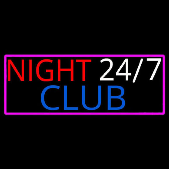 24 7 Night Club Handmade Art Neon Sign