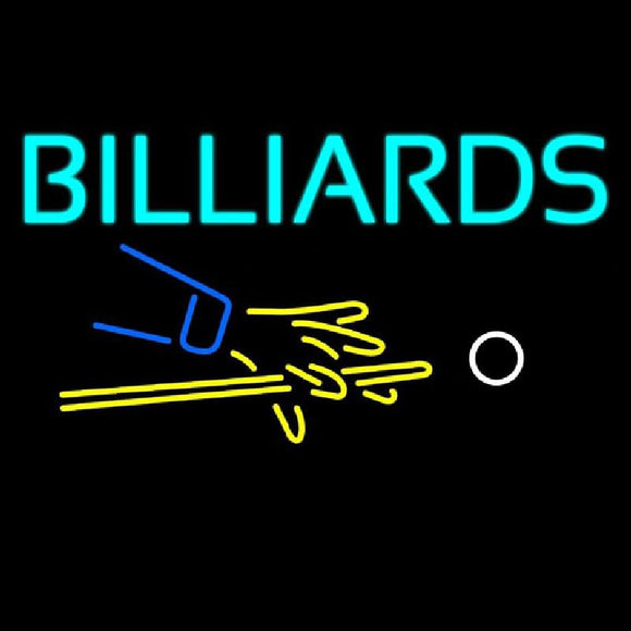 Billiards Hand And Cue Handmade Art Neon Sign