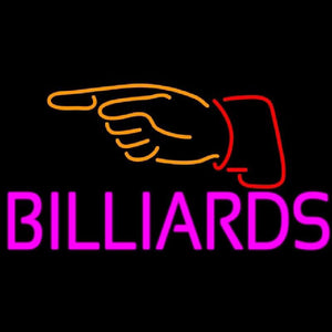 Billiards With Hand Logo 1 Handmade Art Neon Sign