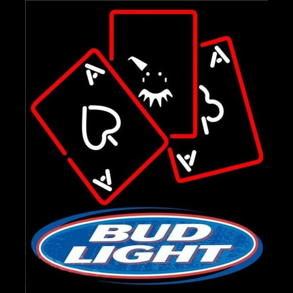 Bud Light Ace And Poker Beer Sign Handmade Art Neon Sign