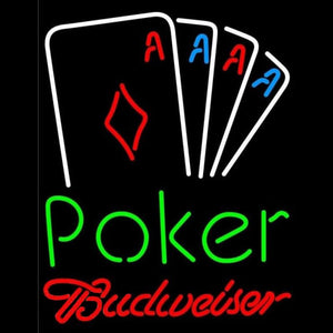 Budweiser Poker Tournament Beer Sign Handmade Art Neon Sign