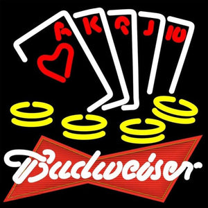 Budweiser Red Poker Ace SeriesBeer Sign Handmade Art Neon Sign