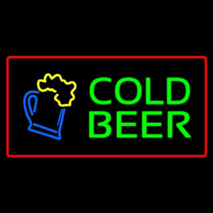 Cold Beer with Red Border Handmade Art Neon Sign