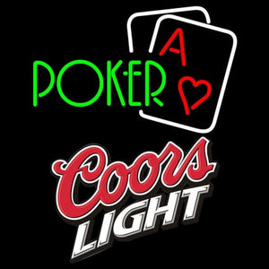 Coors Light Green Poker Handmade Art Neon Sign
