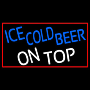 Ice Cold Beer On Top With Red Border Handmade Art Neon Sign