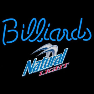 Natural Light Billiards Text Pool Beer Sign Handmade Art Neon Sign