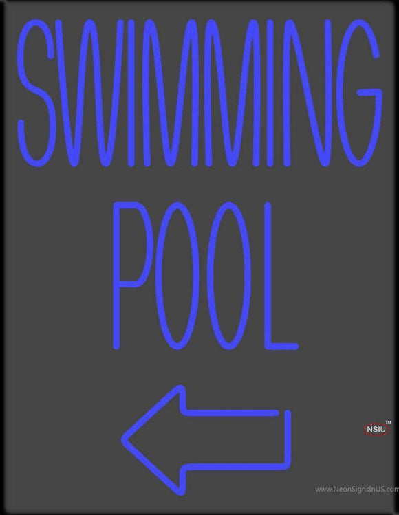 Swimming Pool With Arrow Handmade Art Neon Sign