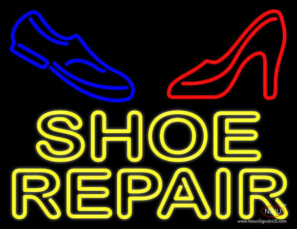 Yellow Shoe Repair With Sandal Shoe Neon Sign