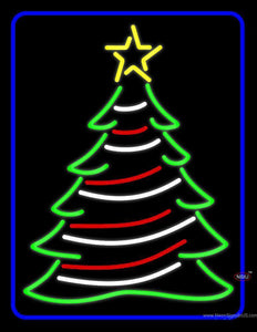 Blue Border Decorative Christmas Tree Neon Sign