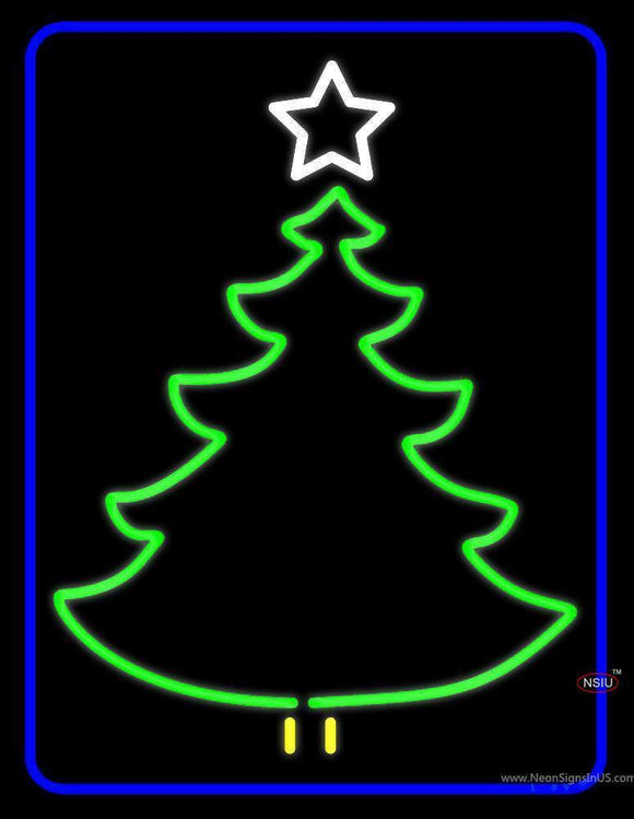 Blue Border Green Christmas Tree Logo Neon Sign
