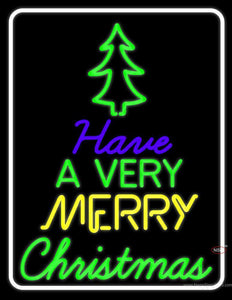 White Border Merry Christmas And Happy New Year Neon Sign