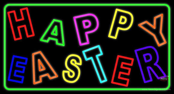 Purple Happy Easter  Neon Sign