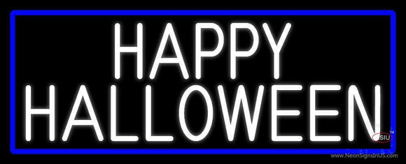 White Happy Halloween With Blue Border Neon Sign