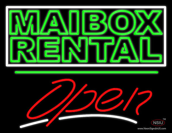 Green Mailbox Rental Block With Open  Neon Sign