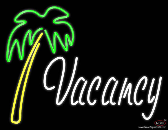 Vacancy With Tree Real Neon Glass Tube Neon Sign