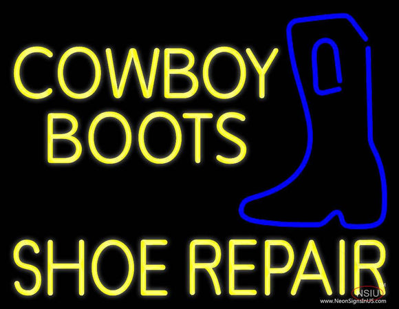 Yellow Cowboy Boots Shoe Repair Real Neon Glass Tube Neon Sign
