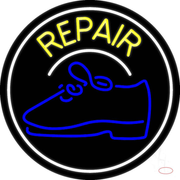 Yellow Repair Shoe With Border Real Neon Glass Tube Neon Sign