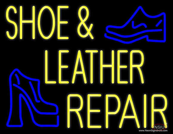 Yellow Shoe and Leather Repair Real Neon Glass Tube Neon Sign