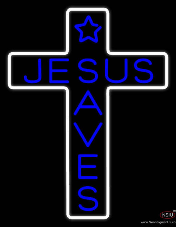 Blue Jesus Saves White Cross With Border Real Neon Glass Tube Neon Sign