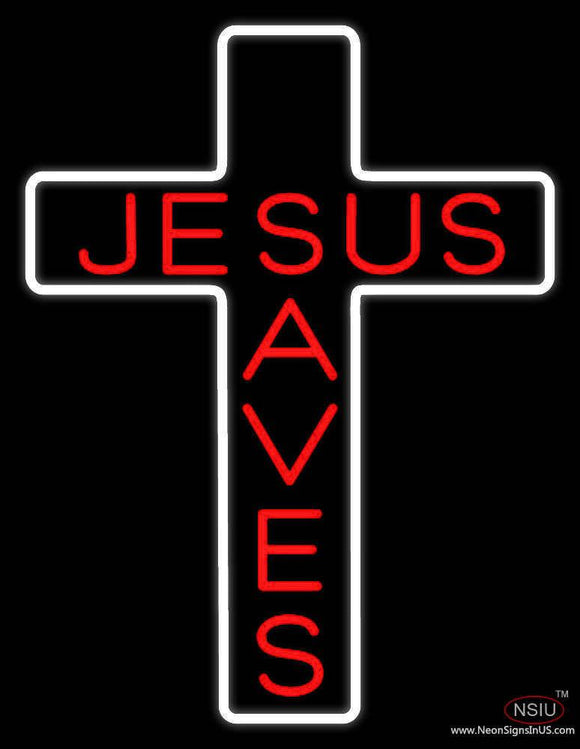 Jesus Saves White Cross Real Neon Glass Tube Neon Sign