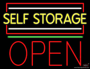 Yellow Self Storage Block With Open  Real Neon Glass Tube Neon Sign