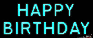 Turquoise Happy Birthday Real Neon Glass Tube Neon Sign