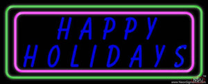 Blue Happy Holidays Block Real Neon Glass Tube Neon Sign