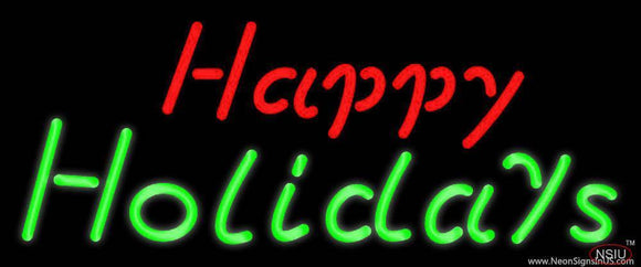 Red Happy Green Holidays Real Neon Glass Tube Neon Sign