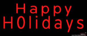 Red Happy Holidays Real Neon Glass Tube Neon Sign