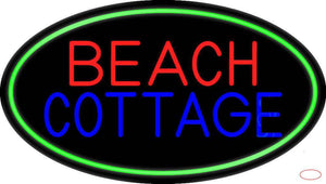 Beach Cottage With Green Border Handmade Art Neon Sign